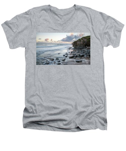 Sunset View In The Distance With Large Rocks On The Beach Men's V-Neck T-Shirt