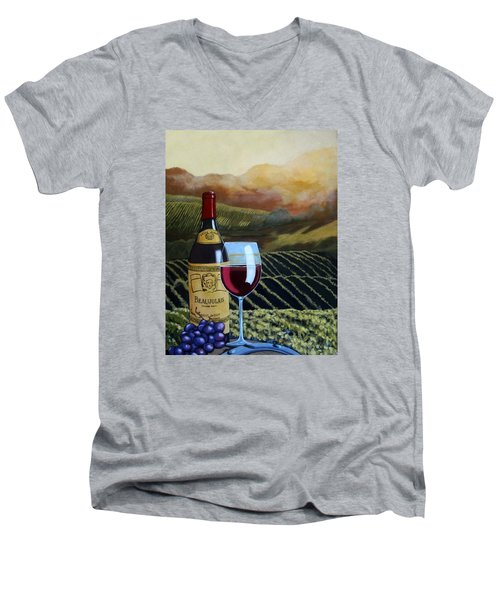 Sunset W/beaujolais Men's V-Neck T-Shirt by Linda Apple