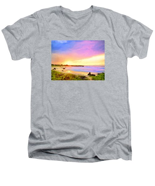 Sunset Walk Men's V-Neck T-Shirt by Dominic Piperata