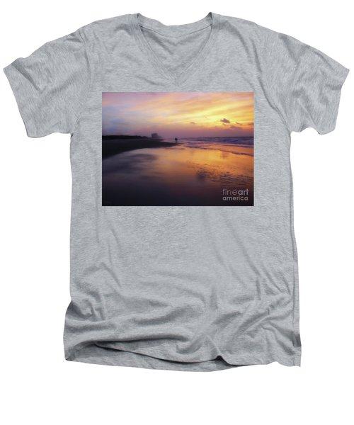 Sunset Walk On Myrtle Beach Men's V-Neck T-Shirt