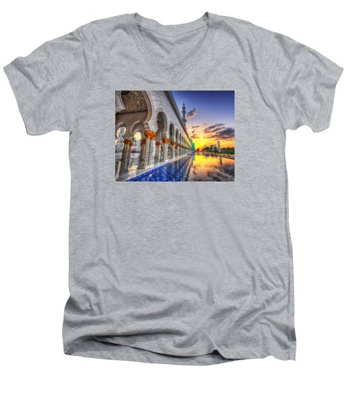 Sunset Water Path Temple Men's V-Neck T-Shirt by John Swartz