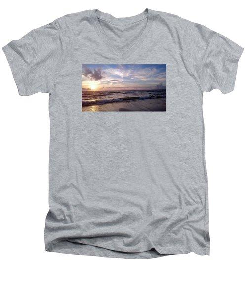 Sunset Waves  Men's V-Neck T-Shirt by Vicky Tarcau
