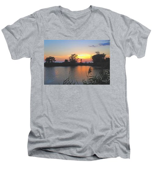 Sunset West Of Myer's Bagels Men's V-Neck T-Shirt by Felipe Adan Lerma