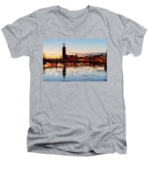 Sunset With Cityhall Of Stockholm Men's V-Neck T-Shirt