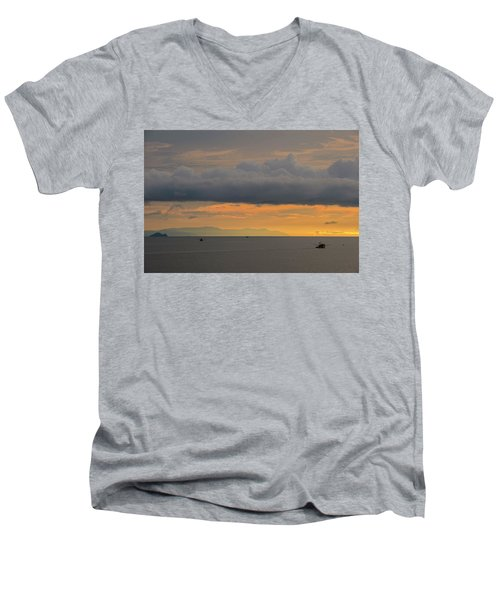 Sunset With Fishing Boats At Sea Men's V-Neck T-Shirt