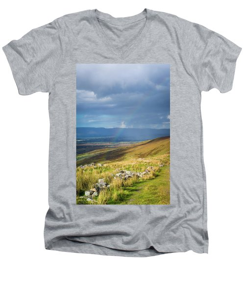 Men's V-Neck T-Shirt featuring the photograph Sunshine And Raining Down With Rainbow On The Countryside In Ire by Semmick Photo