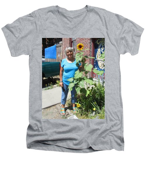 Sunshiny Hello From Marie Men's V-Neck T-Shirt