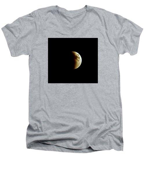 Super Moon Eclipse 2015 Men's V-Neck T-Shirt by Diana Angstadt