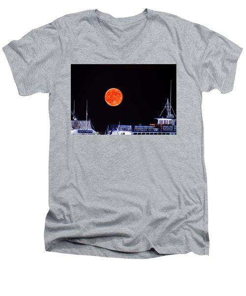 Super Moon Over Crazy Sister Marina Men's V-Neck T-Shirt by Bill Barber