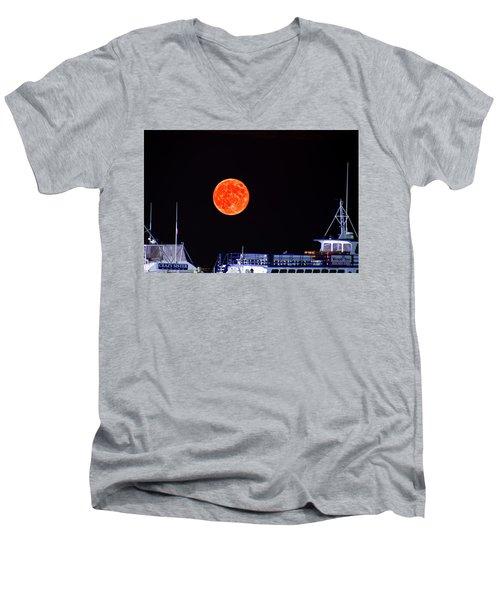 Men's V-Neck T-Shirt featuring the photograph Super Moon Over Crazy Sister Marina by Bill Barber