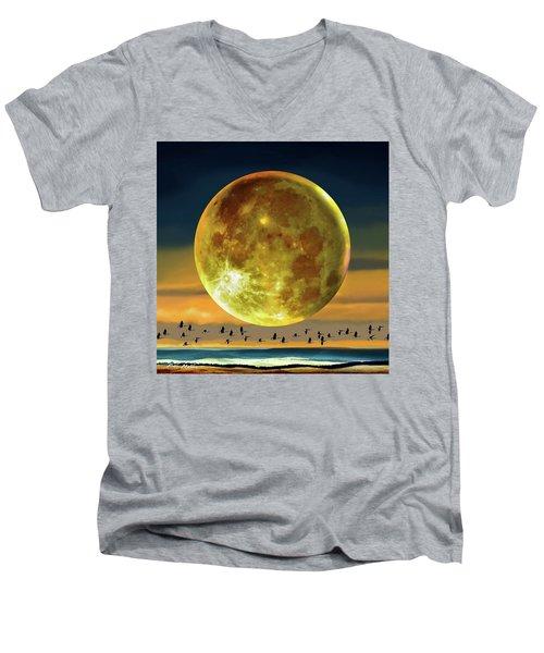 Super Moon Over November Men's V-Neck T-Shirt by Robin Moline