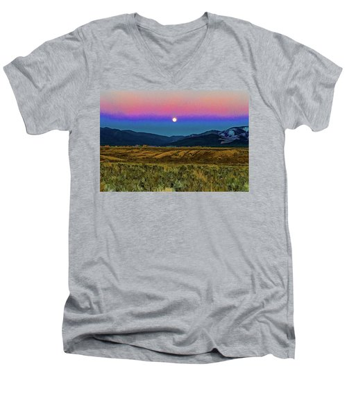 Super Moon Over Taos Men's V-Neck T-Shirt