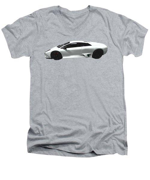Supercar In White Art Men's V-Neck T-Shirt