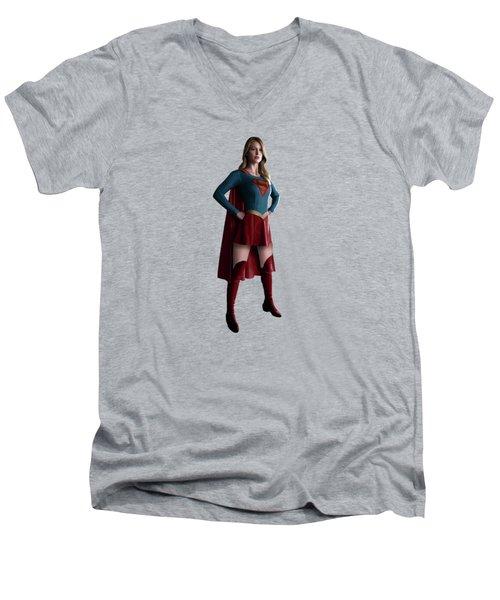 Supergirl Splash Super Hero Series Men's V-Neck T-Shirt