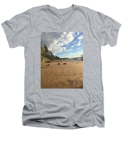 Men's V-Neck T-Shirt featuring the photograph Superior Shore by Paula Brown