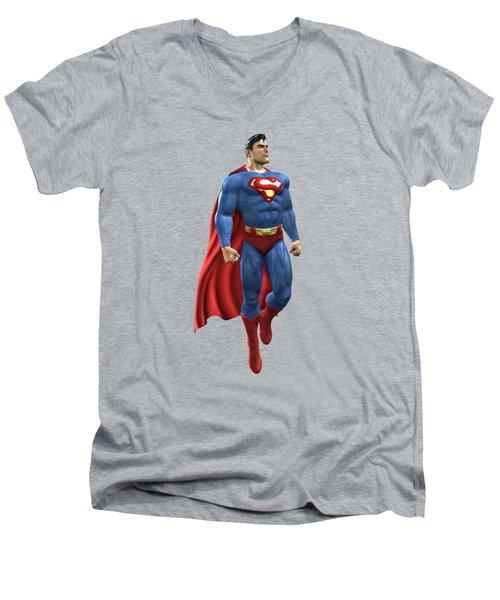 Superman Splash Super Hero Series Men's V-Neck T-Shirt