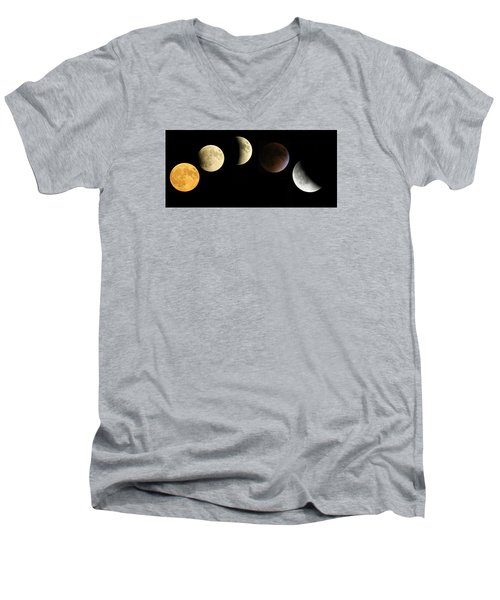 Men's V-Neck T-Shirt featuring the photograph Supermoon Total Lunar Eclipse by Nikki McInnes