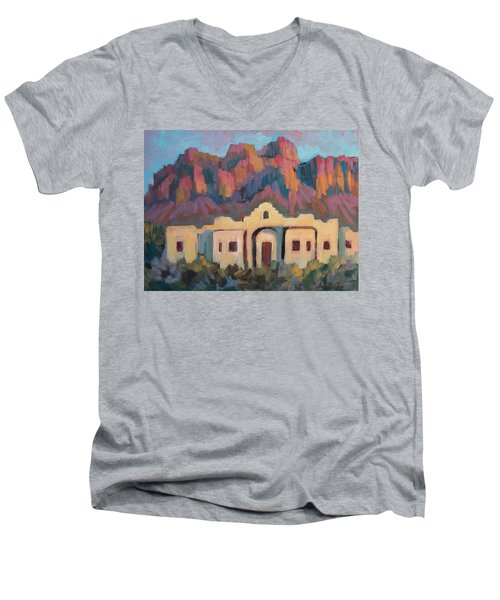 Men's V-Neck T-Shirt featuring the painting Superstition Mountain Evening by Diane McClary