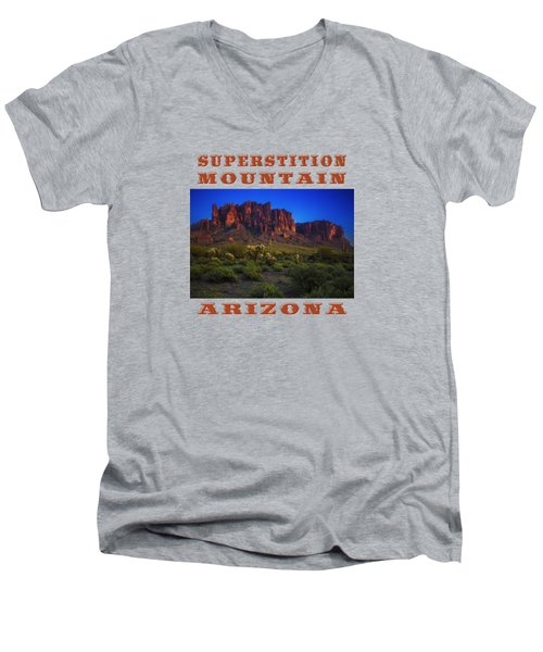 Superstition Mountain Sunset Men's V-Neck T-Shirt