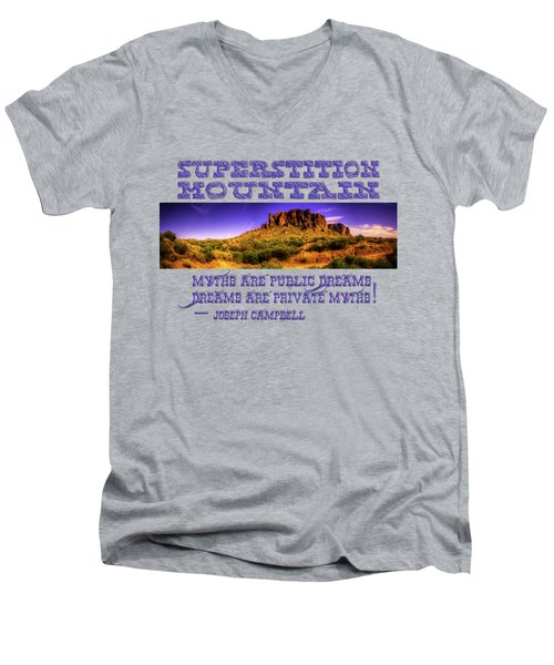 Superstition Mountains In Panorama Late Afternoon Men's V-Neck T-Shirt