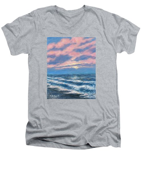 Men's V-Neck T-Shirt featuring the painting Surf And Clouds by Kathleen McDermott
