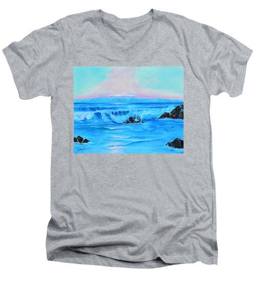 Surf At Sunset  Men's V-Neck T-Shirt by Lloyd Dobson