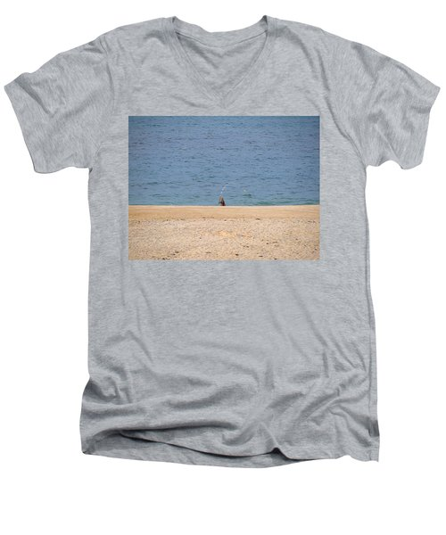 Men's V-Neck T-Shirt featuring the photograph Surf Caster by  Newwwman