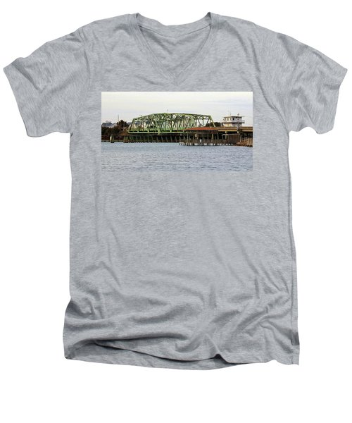 Surf City Swing Bridge Men's V-Neck T-Shirt by Cynthia Guinn
