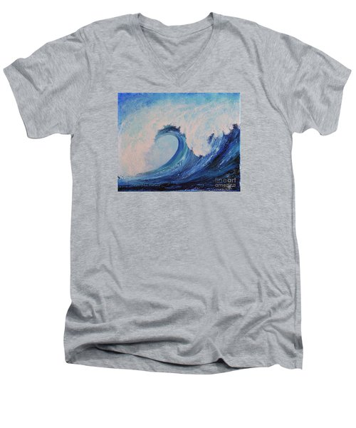 Men's V-Neck T-Shirt featuring the painting Surf No.2 by Teresa Wegrzyn