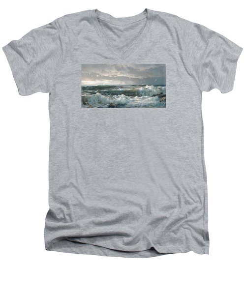 Surf On The Rocks Men's V-Neck T-Shirt by  Newwwman
