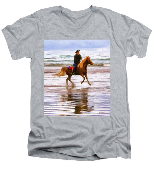 Surf Rider Men's V-Neck T-Shirt by Wendy McKennon