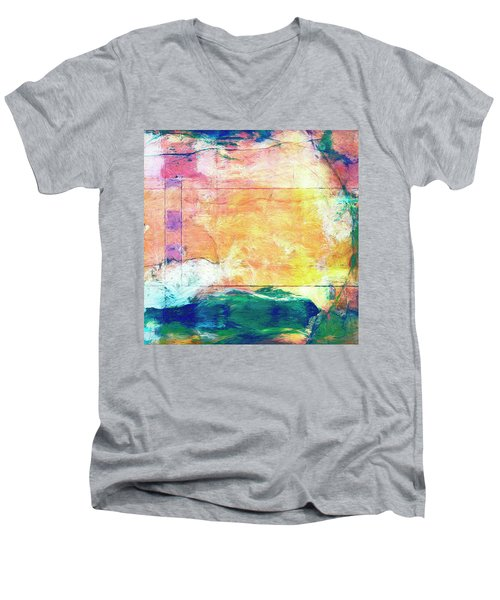 Men's V-Neck T-Shirt featuring the painting Surface Vector by Dominic Piperata
