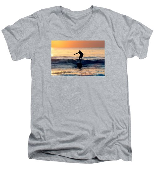 Surfer At Dusk Men's V-Neck T-Shirt