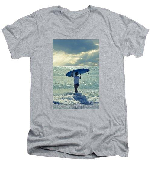 Surfer Girl Men's V-Neck T-Shirt by Laura Fasulo