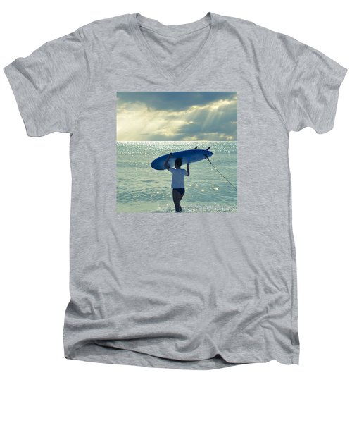 Surfer Girl Square Men's V-Neck T-Shirt by Laura Fasulo