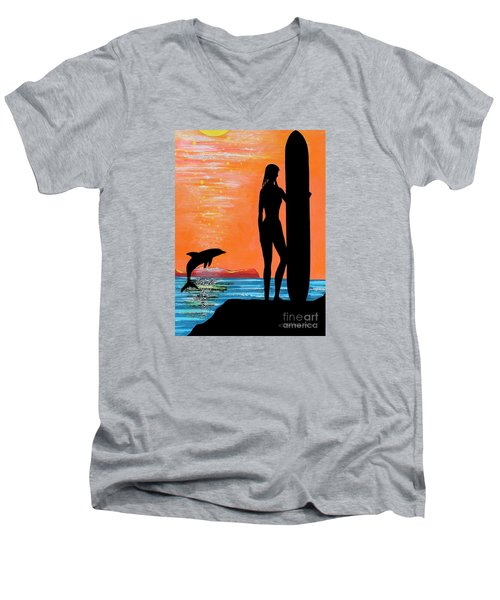 Surfer Girl With Dolphin Men's V-Neck T-Shirt
