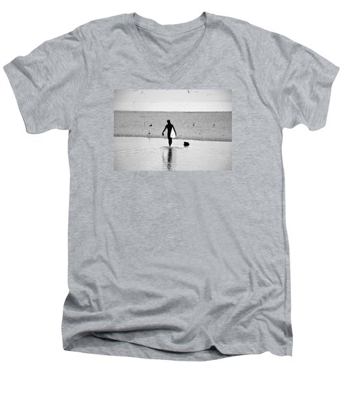 Men's V-Neck T-Shirt featuring the photograph Surfer In Silhouette by Antonia Citrino