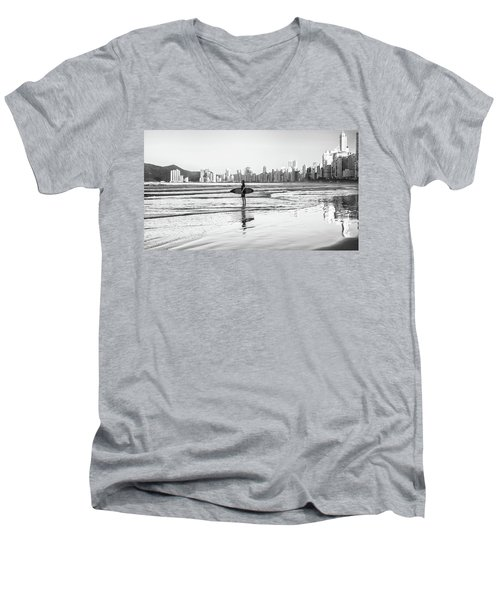 Surfer On The Beach Men's V-Neck T-Shirt