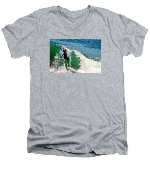 Surfer, Steamer Lane, Series 18 Men's V-Neck T-Shirt by Antonia Citrino