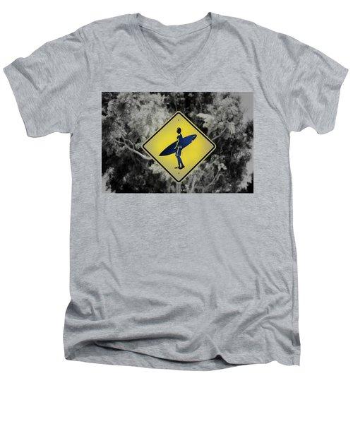 Surfer Xing Men's V-Neck T-Shirt by Joseph S Giacalone