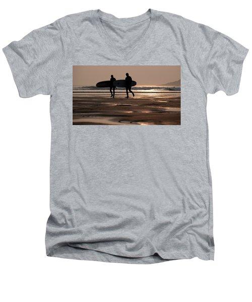 Surfers At Sunset Men's V-Neck T-Shirt
