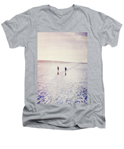 Men's V-Neck T-Shirt featuring the photograph Surfers In The Snow by Lyn Randle