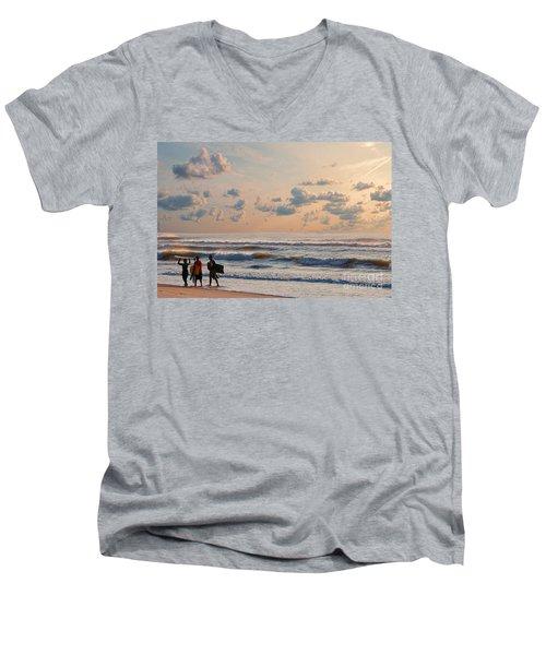Surfing At Sunrise On The Jersey Shore Men's V-Neck T-Shirt