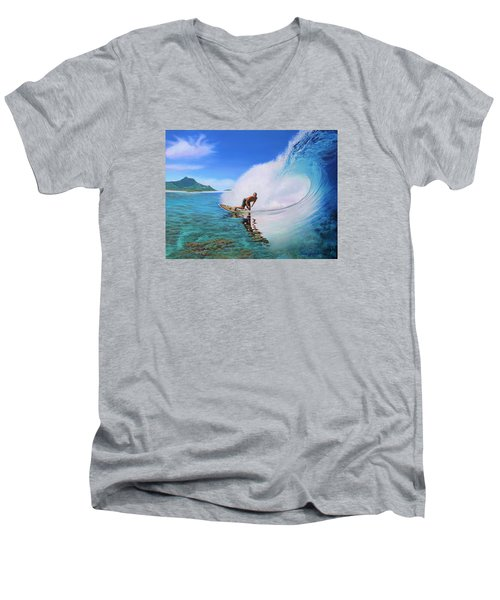 Surfing Dan Men's V-Neck T-Shirt by Jane Girardot