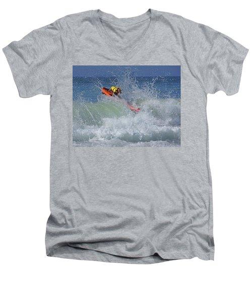 Surfing Dog Men's V-Neck T-Shirt