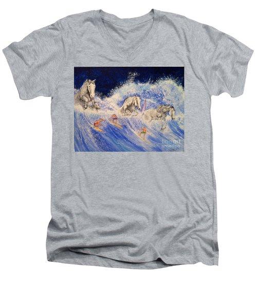 Surfing Horses Men's V-Neck T-Shirt