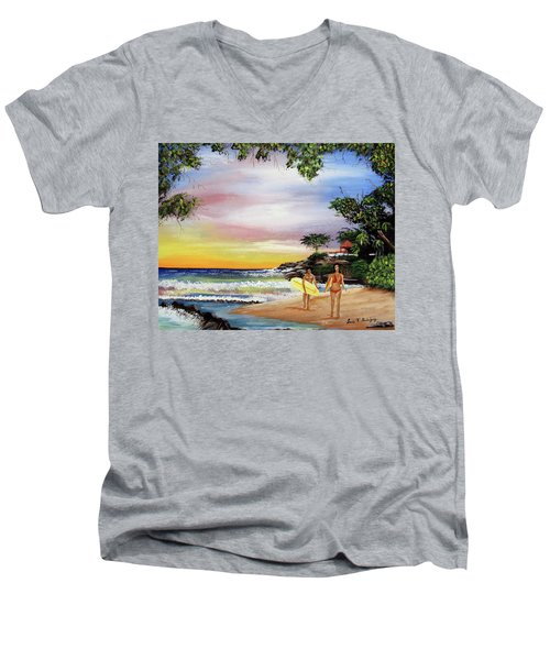 Surfing In Rincon Men's V-Neck T-Shirt by Luis F Rodriguez