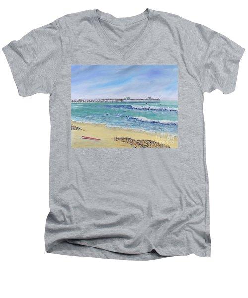 Surfing In San Clemente Men's V-Neck T-Shirt
