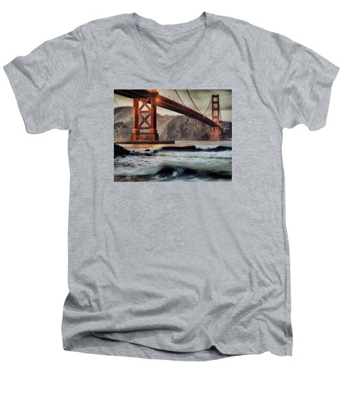 Men's V-Neck T-Shirt featuring the photograph Surfing The Shadows Of The Golden Gate Bridge by Steve Siri