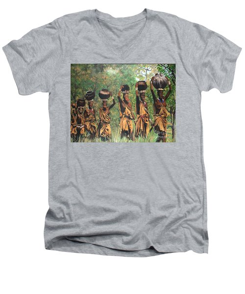 Men's V-Neck T-Shirt featuring the painting Surma Women Of Africa by Sigrid Tune